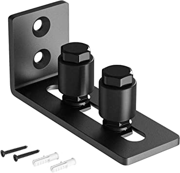 Super Smoothly and Quietly Easy to Install Black SMARTSTANDARD Sliding Barn Door Bottom Adjustable Floor Guide Roller
