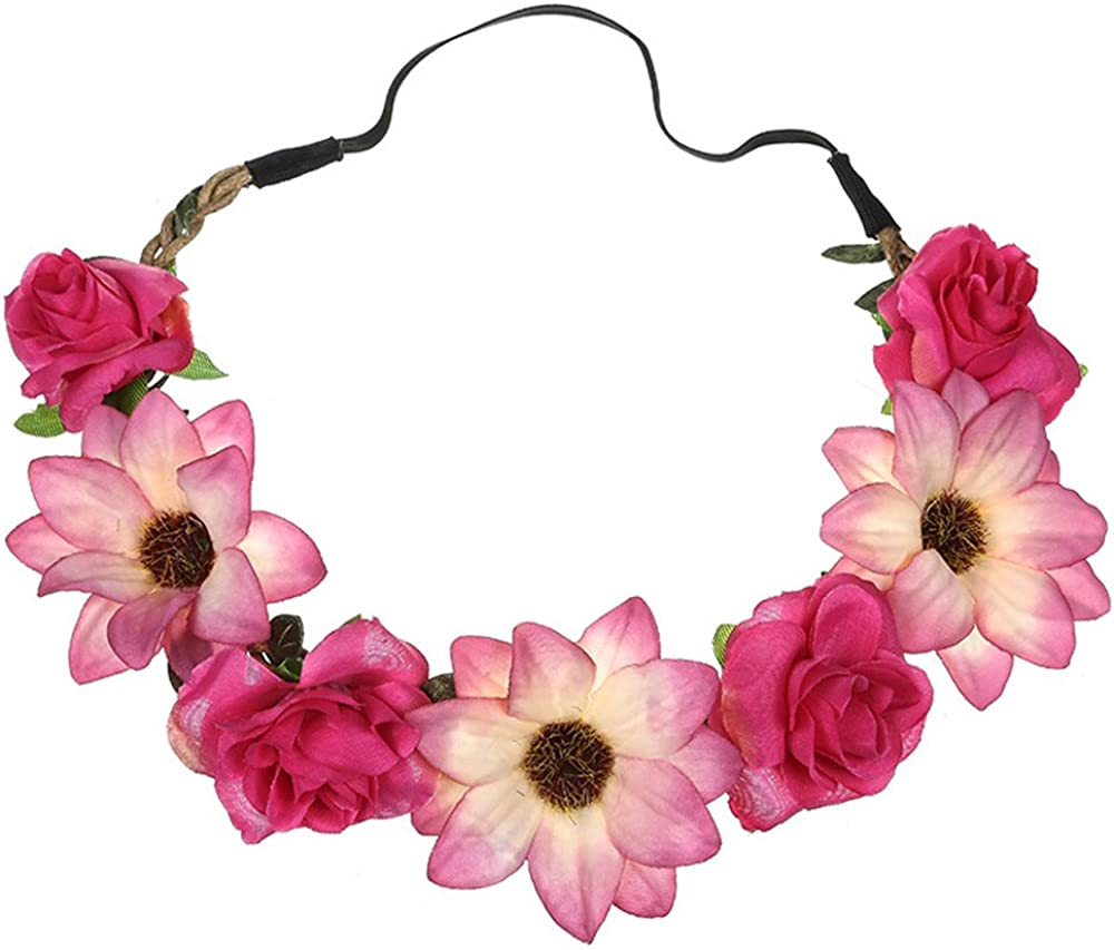 Sttech1 Sunflower Rose Hair Band Lady Fresh Flower Portrait Photo Holiday Wedding Hairband Taking Decorative Chaplet Ornament
