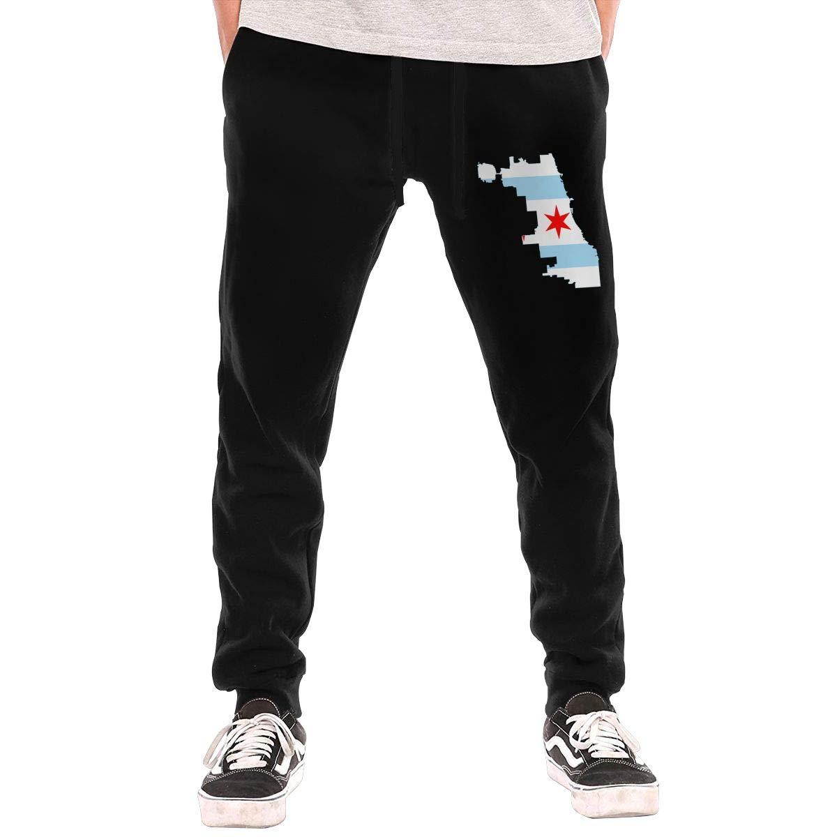 Dbou Chicago Flag Drawstring Waist,100/% Cotton,Elastic Waist Cuffed,Jogger Sweatpants Black