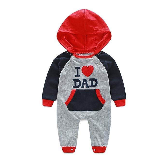 50a3faa467a7 JIANLANPTT Toddler Baby Boys Girls Long Sleeve Hoodie Romper Jumpsuit I  Love DAD 9-12months