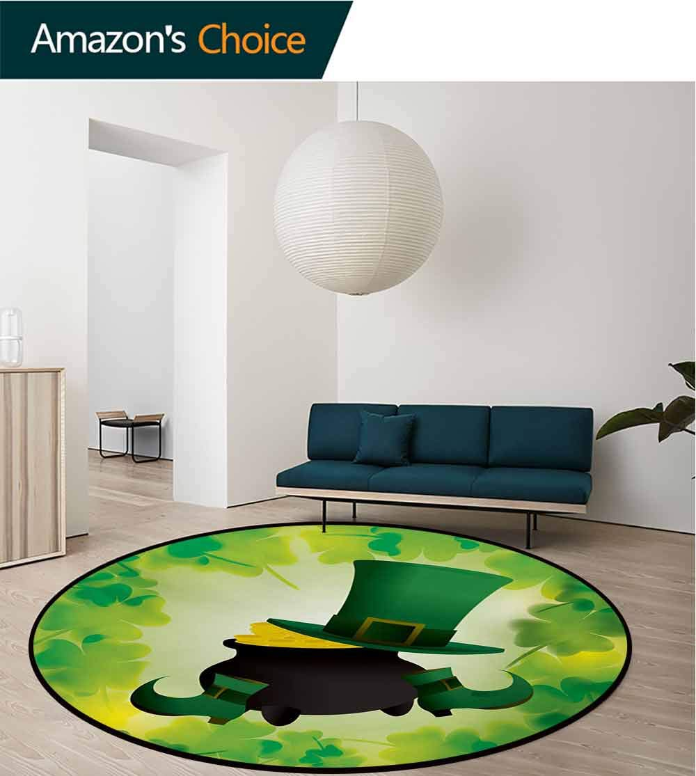 RUGSMAT St. Patricks Day Modern Machine Round Bath Mat,Leprechaun Hat and Shoes Costume with Pot of Gold with Shamrock Leaves Non-Slip No-Shedding Kitchen Soft Floor Mat,Round-55 Inch