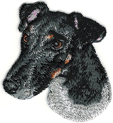 - 2 1/4''x2 1/2'' Smooth Black White Fox Terrier Portrait Dog Breed Embroidery Patch