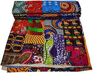 Maviss Homes Indian Traditional Patchwork Cotton Double Kantha Quilt Blanket Bedspreads Throw Machine Washable and Dryable (Multicolored)