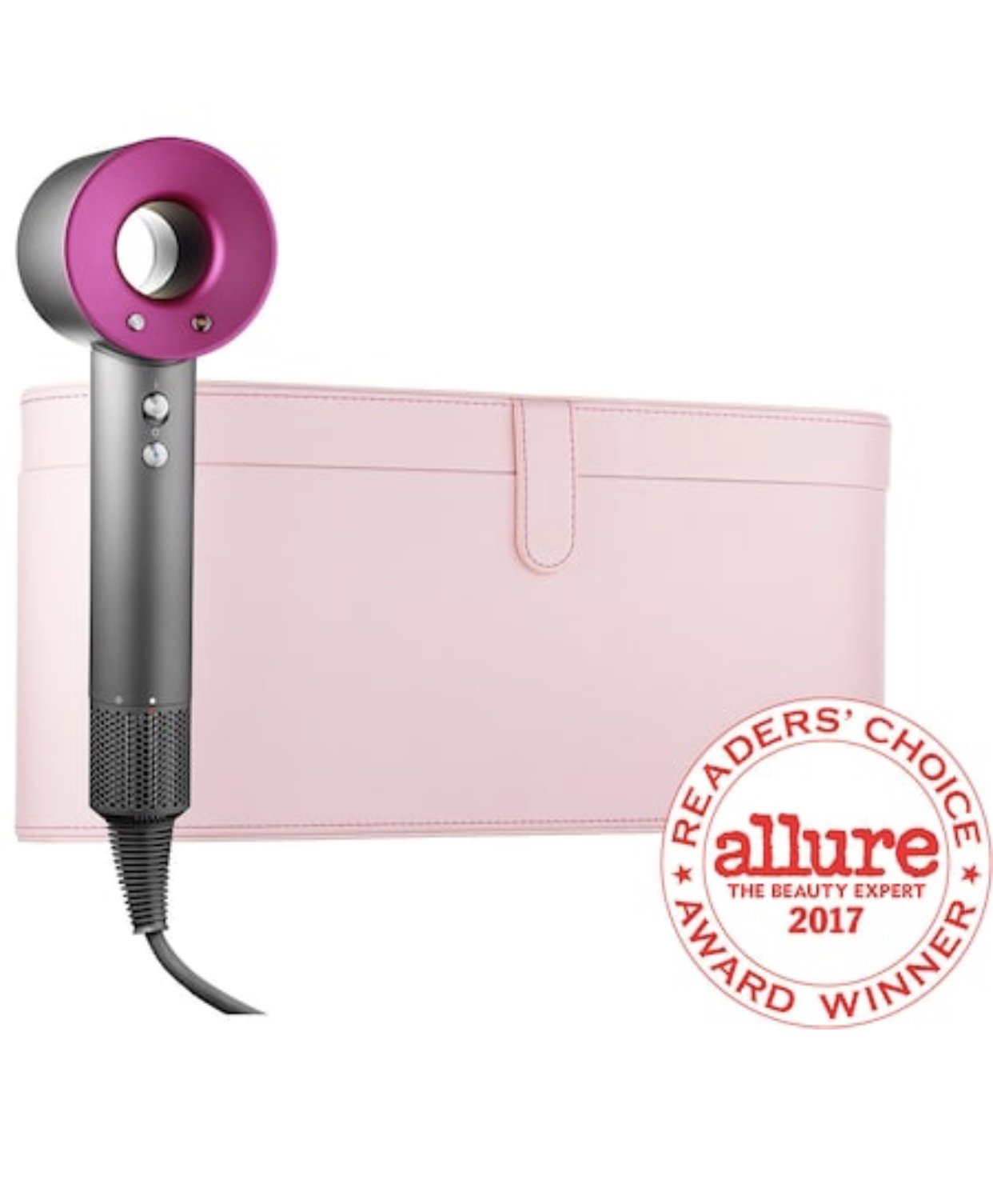 Dyson Supersonic Hair Dryer (Iron/Fuchsia) With Pale Pink Travel Case Limited Edition
