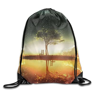 3D Print Drawstring Backpack Rucksack Shoulder Bags Gym Bag Lightweight Travel Backpack Mysterious Tree