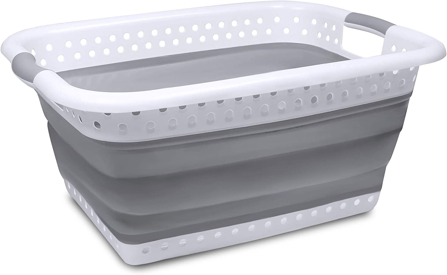 Maypott Collapsible Plastic Laundry Basket - Foldable Pop-Up Laundry Basket - Square Space Saving Storage Container Organizer- Portable Plastic Laundry Basket with Handles(White & Grey)