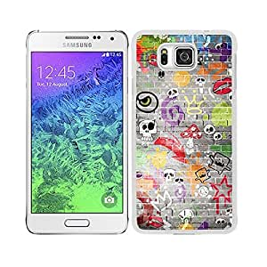 Funda carcasa para Samsung Galaxy Alpha diseño estampado pared calaveras borde blanco