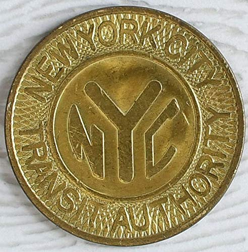 Nyc Subway Token (1980 SCARCE LG SIZE VINTAGE NYC SUBWAY TOKEN! 1980 SOLID BRASS! BUY 2 GET 1 197'0's with Y CUT OUT! One Fare Nice Used Condition)