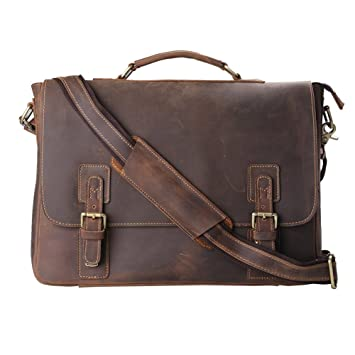 Kattee Men's Leather Briefcase Messenger Bag, 16 Inch Laptop Work ...