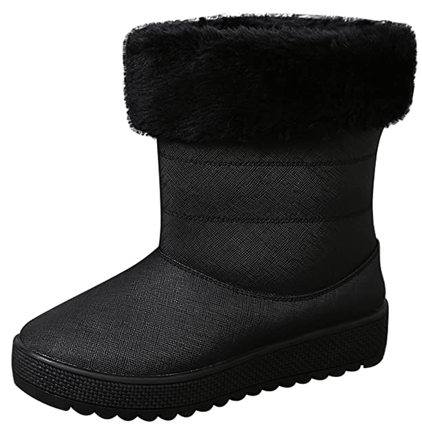 15013 Womens New Fashion Winter Leisure Sweet Lovely Flat Plus Warm Wool Antiskidding Slip On Snow Boots