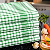 Poyet Motte Timex Oversized 19-by-32 Inch Professional Grade 100-Percent Cotton Kitchen Towel, 4-Pack (Green Stripe)