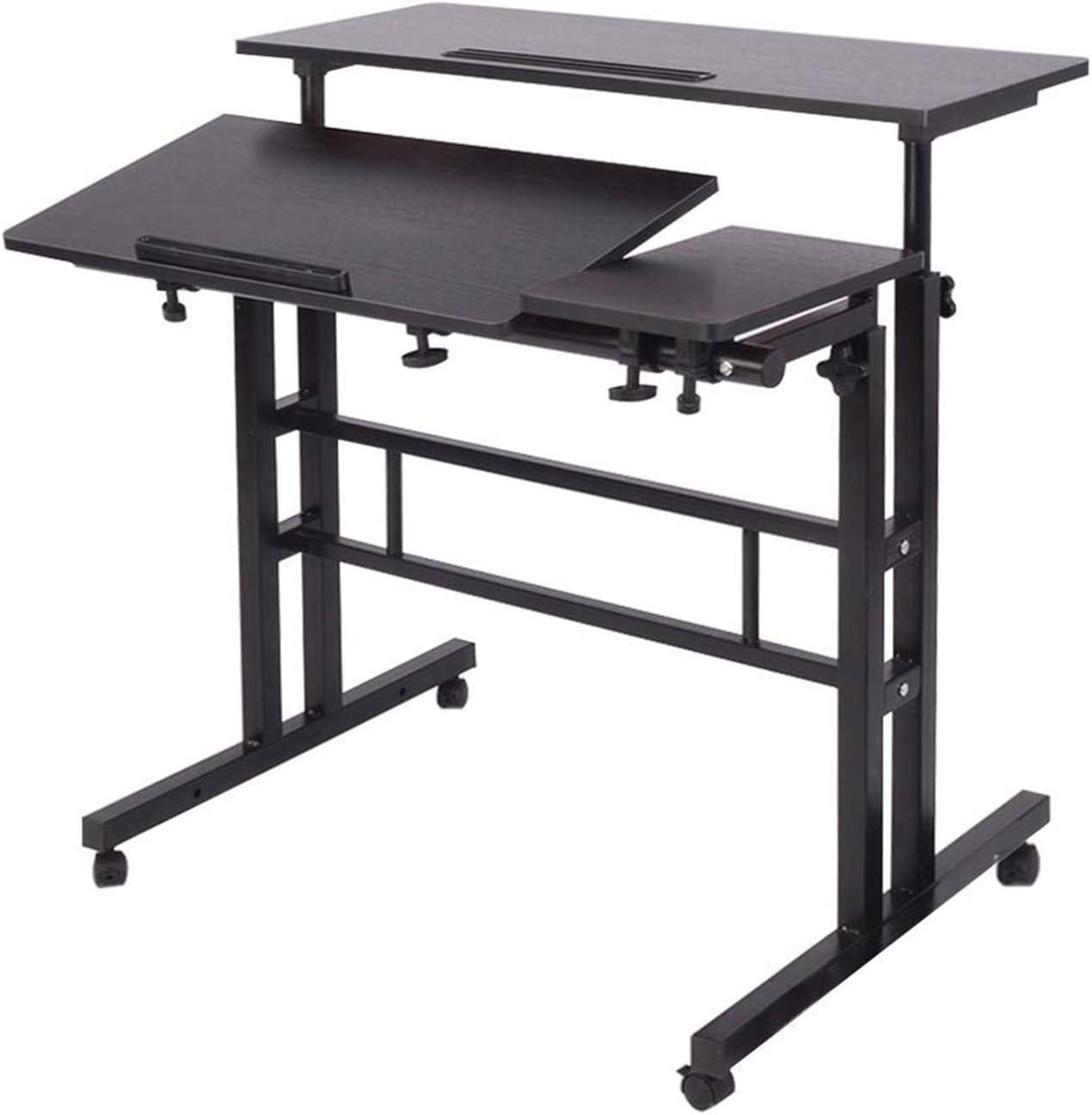Panghuhu88 Mobile Standing Desk Adjustable Height Stand Up Desk Mobile Rolling Desk Height Adjustable Computer Desk for Home Office (Black)