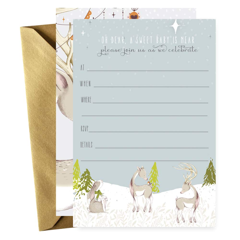 Woodland Deer Baby Shower Invitations with Gold Envelopes Set of 15 Cards