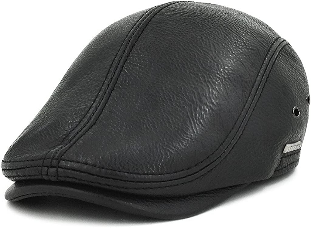 LETHMIK Flat Cap Cabby Hat Genuine Leather Vintage Newsboy Cap Ivy Driving Cap