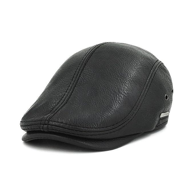 871f6468433 LETHMIK Flat Cap Cabby Hat Genuine Leather Vintage newsboy Cap IVY Driving  Cap Second Version Black