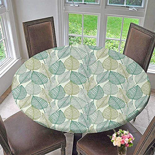 Mikihome Elasticized Table Cover Collection Pattern of Modern Leaf Forms Geometric Lines Shapes Country Style Decorative Print Machine Washable 43.5