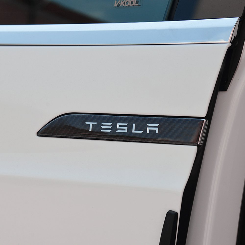 4 Pieces of a Set LMZX Car Door Handle Cover Trim Handle Protector Sticker Door Handle Carbon Fiber Decal Compatible Model X