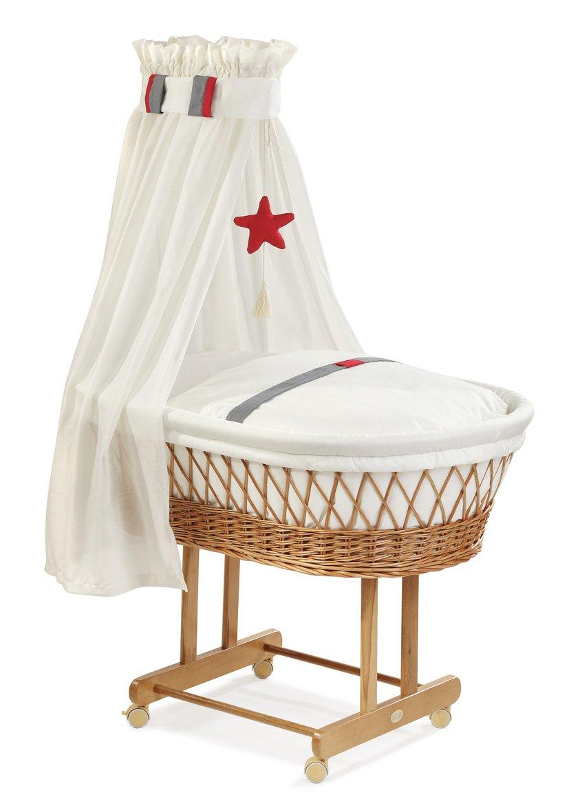 Christiane Wegner 9019 01-546 - Culla con ruote Maxi, con struttura naturale e decorazioni in rosso porpora, 82 x 43 cm