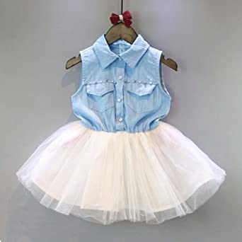 9bb1b42bd00 Amazon.com  Fabal Fashion Girls Kids Princess Flower Denim Tulle dress  Sleeve Summer Dress  Clothing