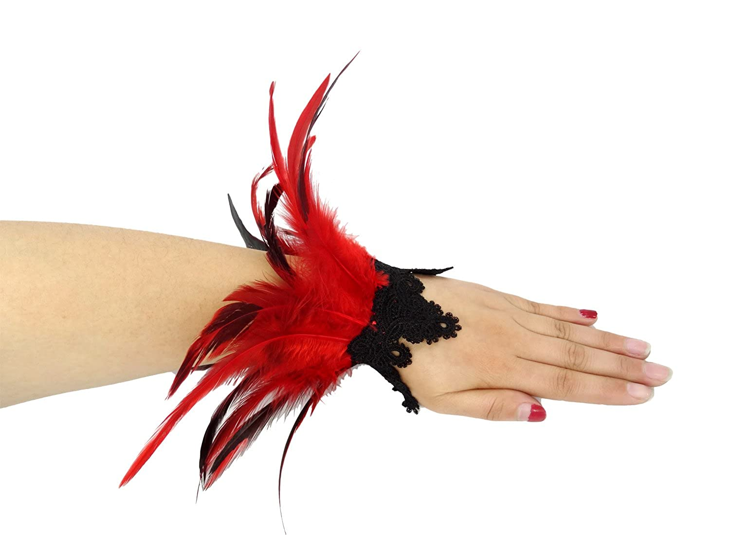 LVOW Natural Feather Lace Wrist Cuffs for Game Party Halloween Pack of 2