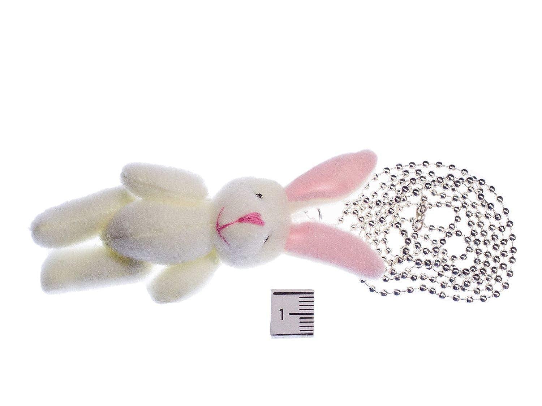 Hase Kette Halskette Miniblings 80cm weiß Plüsch Textil Kaninchen Ostern Häschen