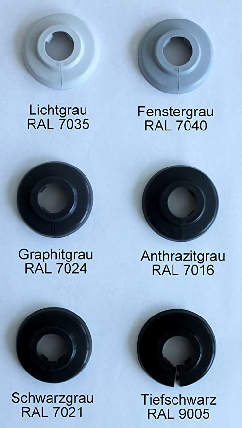 Heizung Abdeckung f/ür Heizungsrohre 10 ST/ÜCK Einzel-Rosetten f/ür Heizungsrohre 15mm, RAL 7040 15mm 22mm Polypropylen in Sonderfarben: Grau- Braun- /& Schwarz-T/öne 18mm