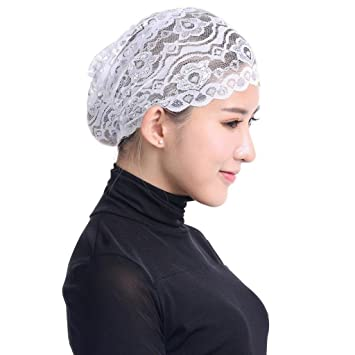 Womens Lace Turban Hat, Women Muslim Hijab Ruffle Cancer Chemo Elegant Lace Hat Beanie Scarf