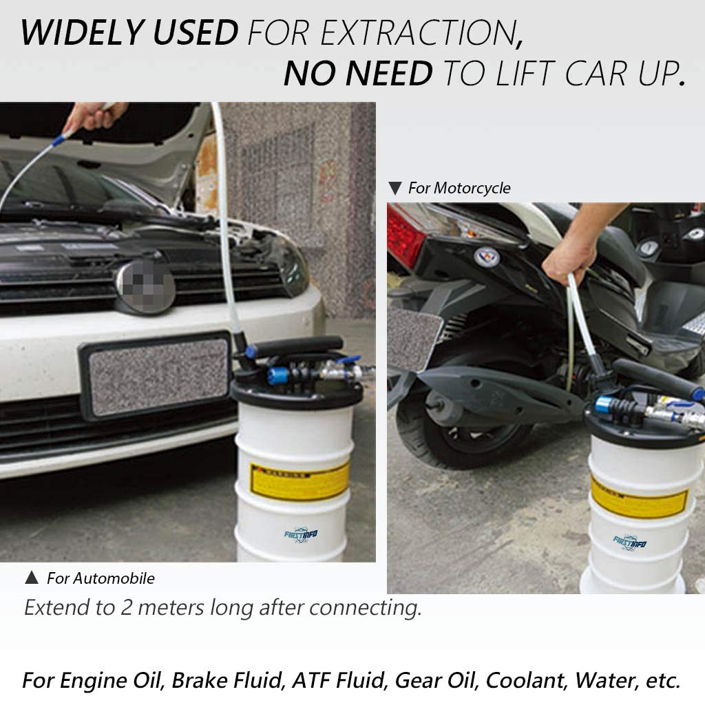 FIRSTINFO Made in Taiwan 9.5L Pneumatic and Manual Operation Oil or Fluid Extractor with 4 pcs Hoses by FIT TOOLS (Image #4)