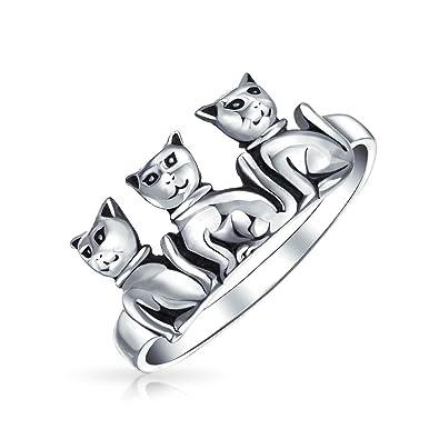 Amistad tres mejores amigos Familia gatito gato banda Anillo para Teen para mujeres Anillo de plata esterlina 925: Amazon.es: Joyería