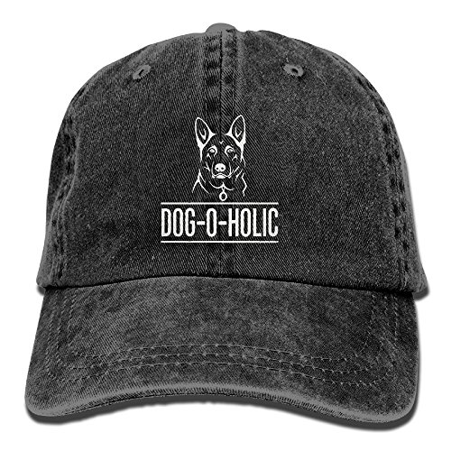 Gifts For German Shepherd Dog Lovers Vintage Washed Dyed Cotton Twill Low Profile Adjustable Baseball Cap Black