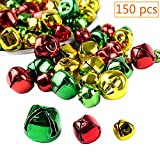 CEWOR 150pcs Jingle Bells 3 Types Colorful Christmas Metal Bells Craft for Festival Decoration DIY Charms Jewelry Making