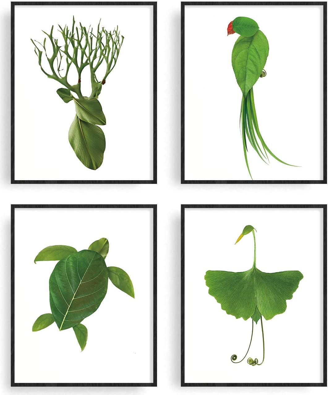 Leaf Prints Botanical Wall Decor Minimalist Wall Art Prints Green Leaves Botanical Poster Creative Christmas Decor Print Canvas Painting Wall Prints Gallery Wall Kit or Home Decoration (Style02)