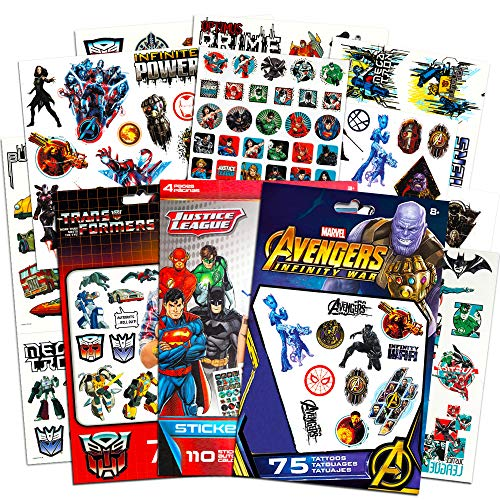 Superhero Tattoos for Boys Kids Party Bundle -- 175 Licensed Temporary Tattoos with Stickers Featuring Transformers, Justice League, and Marvel Avengers (Party