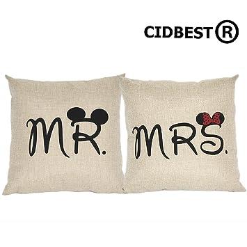 CIDBESTR Mr Mrs Kissenbezge Liebhaber Hochzeit Kissen Retro Baumwolle Buch Hochzeitsgeschenk Kaffee Zuruck Hotel