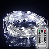 THL Fairy String Lights (White) with Remote Control, AA Battery Powered on 20ft/6M Long Ultra Thin String Silver Wire,Seasonal Decor Rope Lights For Christmas, Wedding,Parties