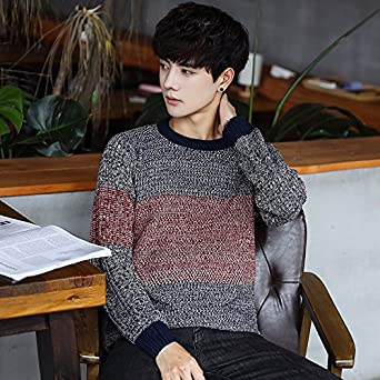 Amazon.com  WYMBS Men s round Neck Knitted Shirt leisure A large ... 723d8d351
