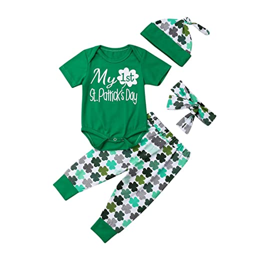 83b5d28a02e My 1ST St.Patrick s Day Baby Girl Romper Clover Pant Clothes Hat Headband (0