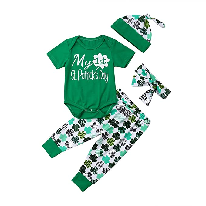 669f2f687f1a Amazon.com  My 1ST St.Patrick s Day Baby Girl Romper Clover Pant ...