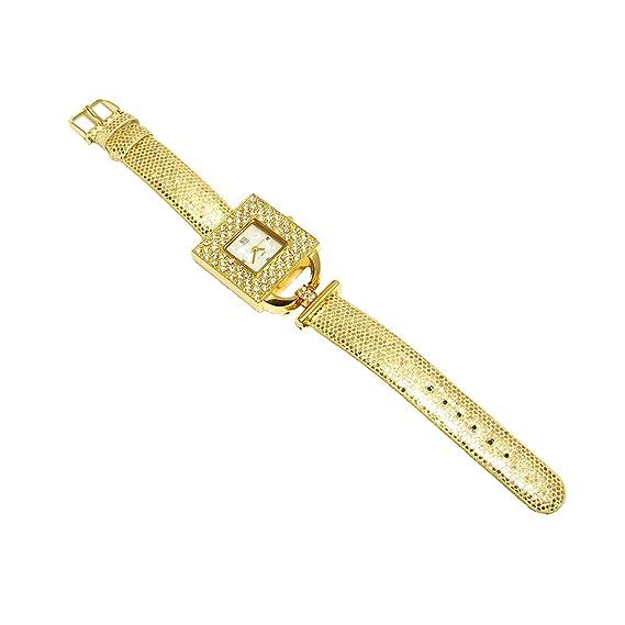 Reloj YESS Dorado Elegante Cuadrado en CZ Moda Femenina: Amazon.es: Relojes