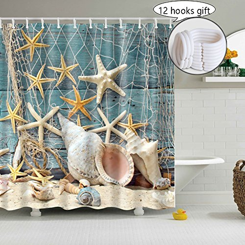 Seashell Shower Curtain Decoration for Bathroom, 3D Nature Print Pictures, YIWEISI Fabric Rustic Shower Curtains Set Country (Starfish Seashells) - Shower Curtain With Seashells