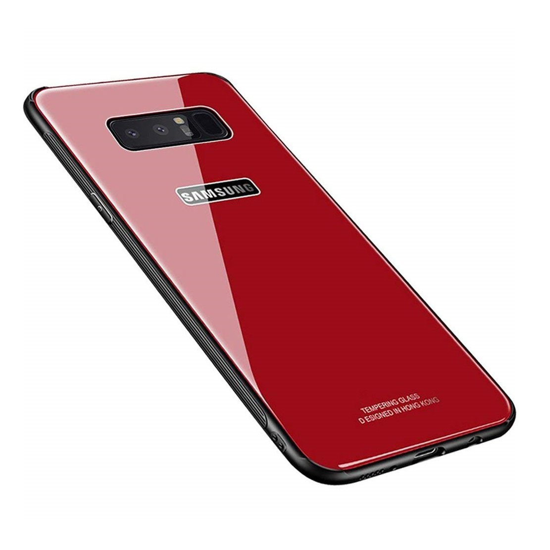 Samsung Galaxy Note 8 Case,Luhuanx Note 8 Glass Case,Tempered Glass Back Cover + TPU Frame Hybrid Shell Slim Case for Note 8,Galaxy Note 8 Red Case, Anti-Scratch Anti-Drop (Red)