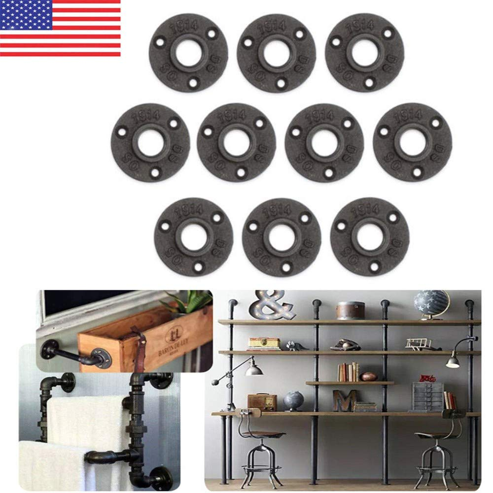 10Pcs 1/'/' Black Malleable Threaded Floor Flange Iron Pipe Fittings Wall Mounted
