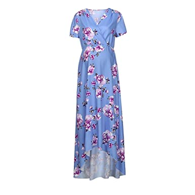 3105cc5ad51 Halijack Dress for Pregnant Women Casual Floral Print Maternity Maxi Dress  Fasion Split Front Short Sleeve Nursing Baby Pregnancy Long Dress   Amazon.co.uk  ...