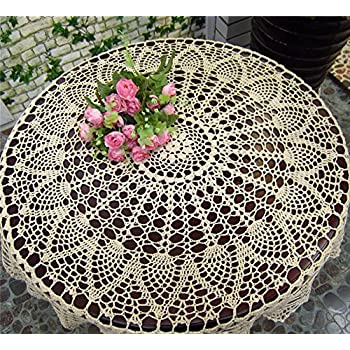 Handmade Crochet Cotton Table Cloth Lace Doilies Round Cream Crochet Tablecloths Tablecover For Home Patio Deck Tea Table Kitchen Dining Room Party