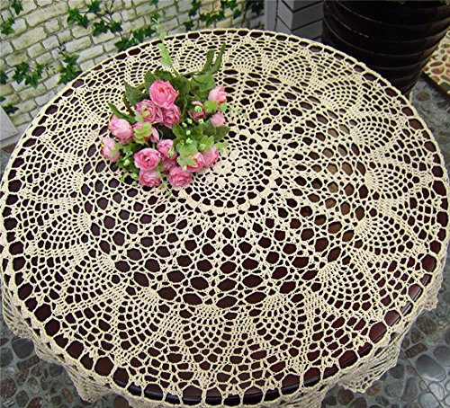 "Macrame Cream Crochet Round Tablecloths Handmade Lace Table Runner Tablecover for Home Patio Deck Tea Table Kitchen Dining Room Party Wedding Decoration HZQ-06-C-US 35.4"" / 90cm"