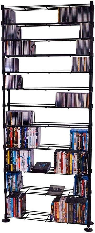 BS Media - Estantería de metal para CD y DVD, color negro ...