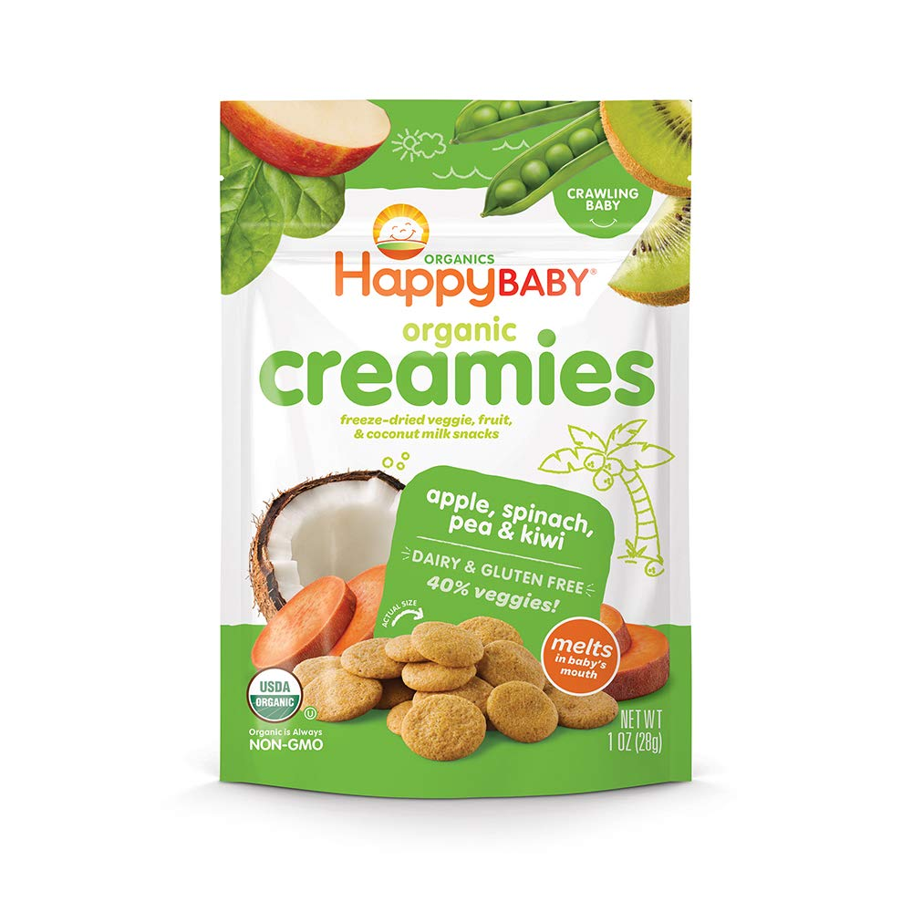 Happy Baby Organic Creamies Freeze-Dried Veggie & Fruit Snacks with Coconut Milk Apple Spinach Pea & Kiwi, 1 Ounce Bag (Pack of 8) (Packaging May Vary) by Happy Baby