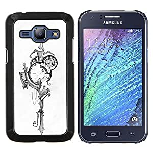 Dragon Case - FOR Samsung Galaxy J1 J100 J100H - abstract time street lamp black white - Caja protectora de pl??stico duro de la cubierta Dise?¡Ào Slim Fit