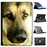 "Leather Case For Apple iPad 9.7"" 5th Generation (2017 Version) - Close Up Face Of A German Shepherd Dog"