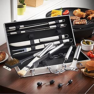 VonHaus 18-Piece Stainless Steel BBQ Accessories Tool Set - Includes Aluminum Storage Case for Barbecue Grill Utensils by DOMU Brands LLC